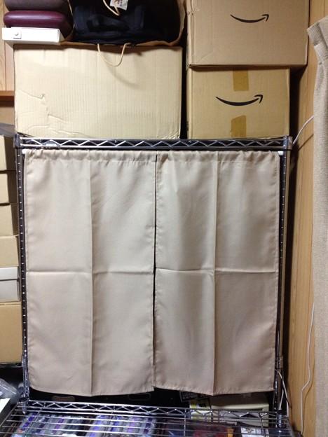 写真: 百均カーテン装着