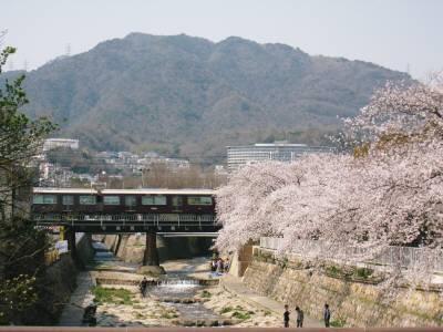 阪急電車と桜と山