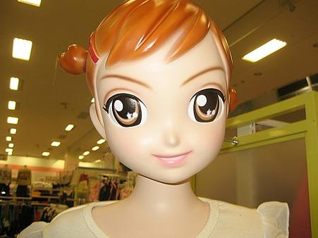 イオン都城で見た怖いと言われるアニメ顔のマネキン