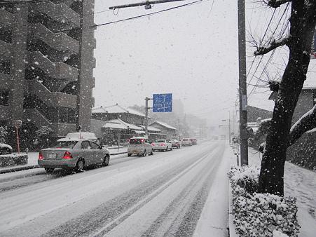 雪が舞う朝の出勤風景