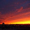 写真: 夕焼け空 新潟県庁方向