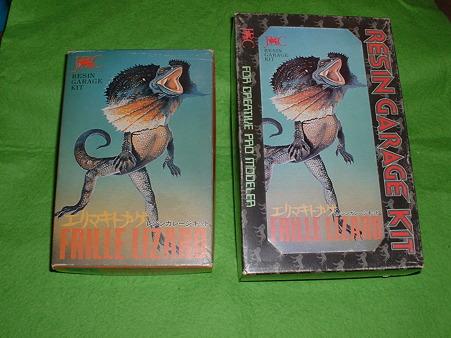 土筆レジン黎明期ガレージキット「エリマキトカゲ」 パッケージ 小(左)と大(右)Doburoku-TAO
